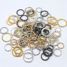 Posrebrzane tłoczenie 10mm 100 sztuk okrągłe koło Vintage otwórz Jump pierścień dla kolczyk tworzenia biżuterii robótki klamrami haki tanie tanio LOST WAY CN (pochodzenie) Jump pierścionki i kółka łącznikowe Jump Rings Split Ring Ocena biżuteria Metal Ze stopu cynku