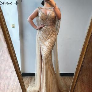 Image 1 - Serene Hill Sexy Champagne V neck Luxury Evening Dress 2020 Diamond Beading Sleeveless Mermaid Formal Party Gown CLA70301