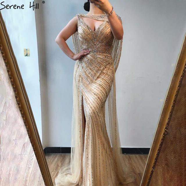 Serene Hill Sexy Champagne V neck Luxury Evening Dress 2020 Diamond Beading Sleeveless Mermaid Formal Party Gown CLA70301