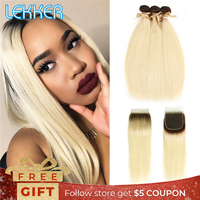 Lekker T4/613 BlondeBundles with Closure Brazilian Remy Hair 3 Bundles Ombre Straight Hair Weave Black to Blonde Hair Extensions