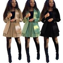 Echoine/осень зима плиссированная мини юбка с высокой талией