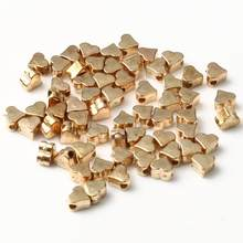 100 Pçs/lote 5x3mm Dentro do Furo Do Amor Do Coração Cor Prata CCB Ouro Solto Spacer Acrílico Beads DIY Jewelry Making Achados Grânulos de Charme