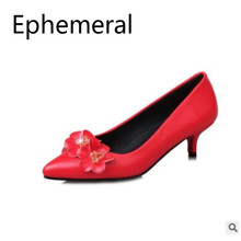 Women Sweet Flowers Pumps Med Thin Heel Shoes Pointy Toe Slip-ons For Wedding Party Soft leather Plus Size 43-33 Red Black Grey boreal walk med coox grey b653