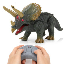 Electronic Dinosaur Toy Infrared Remote Control Triceratops Model Toy Walking with RC Funny Sounding Toys For Kids Gifts цены