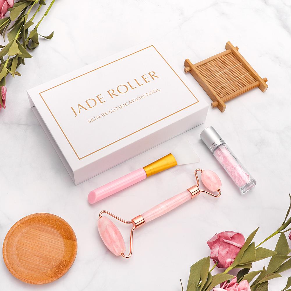 3 In 1 Natural Rose Quartz Jade Roller Face Lifting Anti Aging Real Genuine Stone Green Jade Facial Roller Beauty Massage Tool