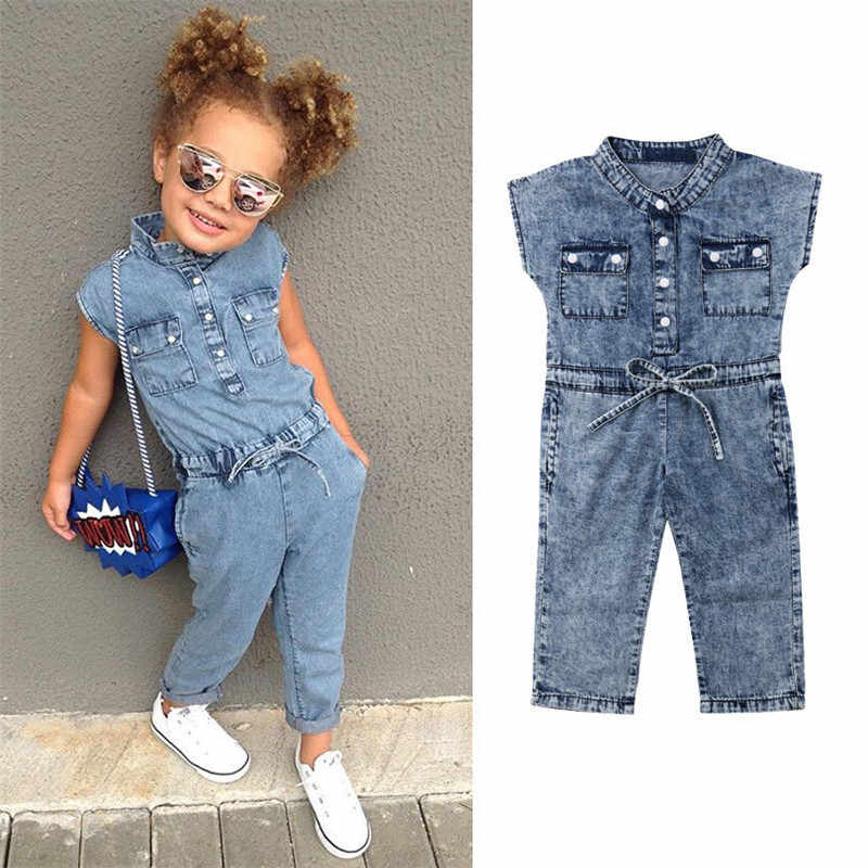 Toddler Kids Baby Girl Denim Overall Strampler One Piece with Belt Bow Sleeveless Jeans Jumpsuits Long Pants Outfits Clothes Set