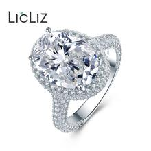 LicLiz 2019 Fashion Luxury Big Oval Zircon Crystal Ring for Women Micro Paved Zirconia White Gold Jewelry Bijoux Femme LUR0578A migga elegant large flower micro paved cubic zirconia big luxury ring for women ladies cz crystal bague