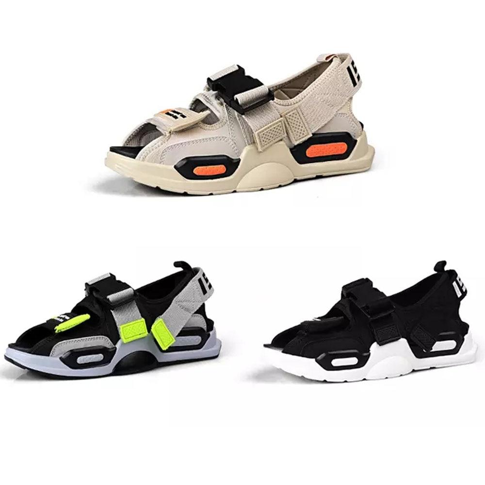 K-pop Summer Sandals For Men Beach Casual Sandals Velcro Soft Thick Sole Comfortable Fashion Sandals
