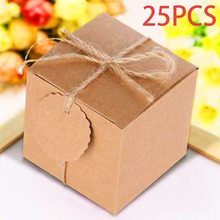 metable 25 Pcs Vintage Favor Gift Paper Boxes Chic DIY Favour Candy Sweet Bags with Tags for Wedding Birthday Party Anniversary