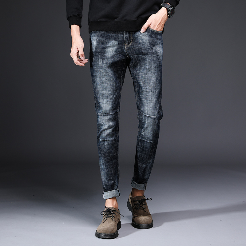 Autumn And Winter New Style Men's Jeans Korean-style Slim Fit Elasticity Skinny Pants Trousers