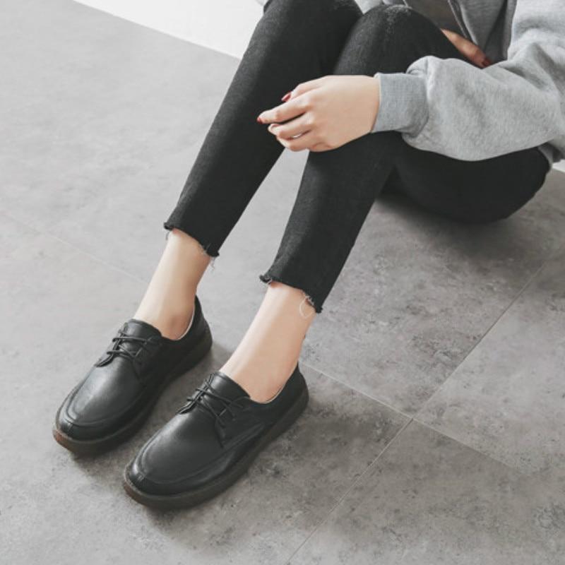Femmes mocassins doux en cuir véritable chaussures plates femmes blanc automne à la main en cuir paresseux chaussures appartements sans lacet noir mocassin femmes - 5