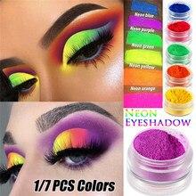 1/7 pçs sombra de néon pó solto pigmento shimmer brilhante sombra de olho fosco mineral arte do prego pó compõem sombra de olho acessório