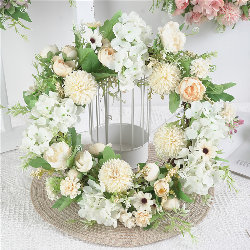 Artificial Peony Flower Wreath 15