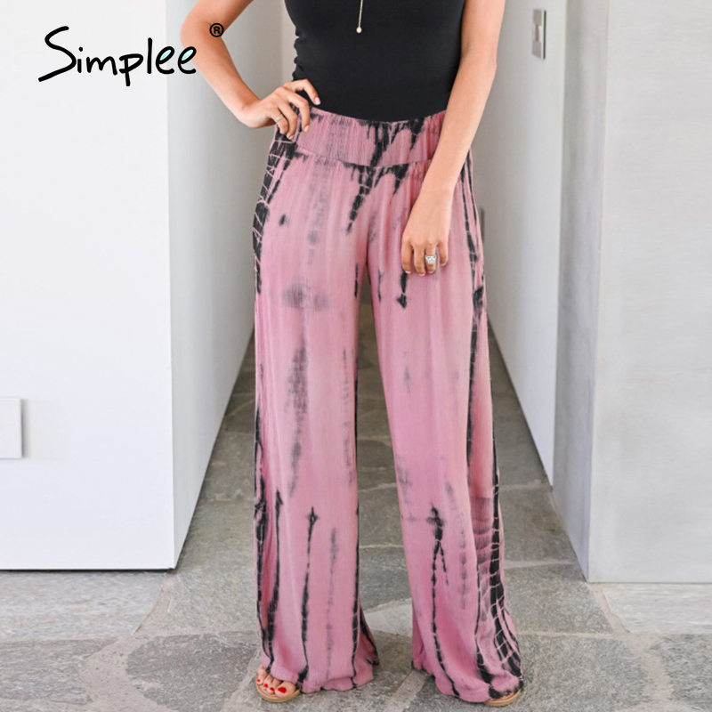Simplee High Waist Casual Women Pants Summer Spring Print Trousers Wide Leg Work Wear Office Lady Ruffles Female Chic Long Pants