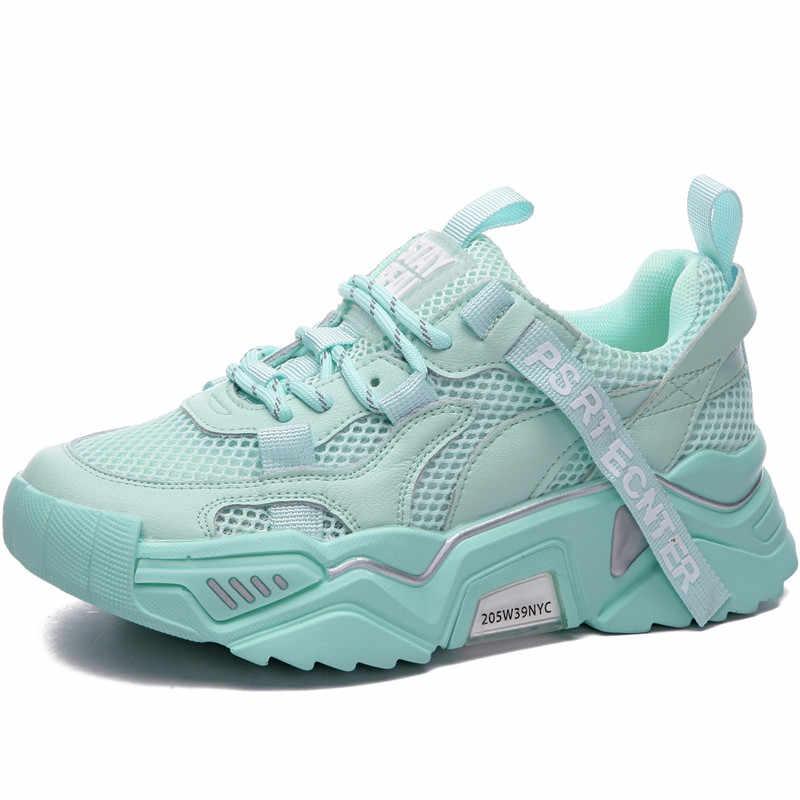 Bao Da Chính Hãng Nữ Nền Tảng Giày 2020 Thời Trang Nữ Lưới Chun Giày Nữ Huấn Luyện Viên Giày