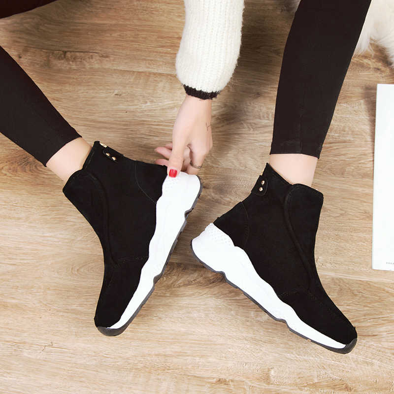 Mùa đông Nữ Mắt Cá Chân Giày 2019 phẳng Các Nền Tảng Giày Người Phụ Nữ Giày Cao Gót 5 CM Bên Trong nêm Giả Da Lộn Giày