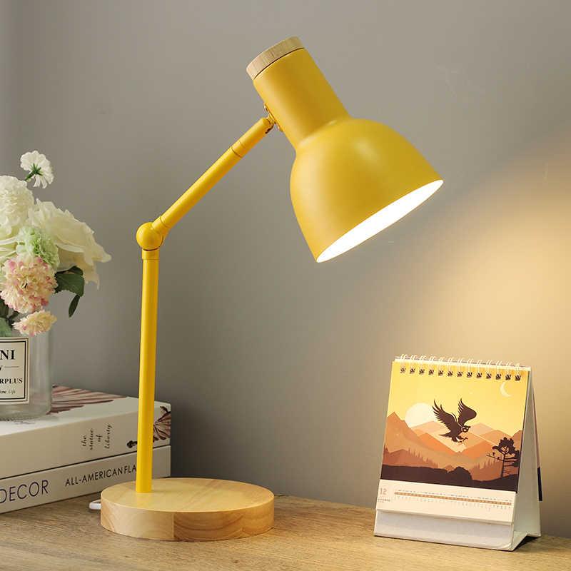 Lámpara de mesa moderna para dormitorio, lámpara de noche para dormitorio, lámpara de escritorio Led nórdica, lámpara para niños, estudiantes, lámpara de lectura, Bureau de oficina E27 con enchufe EE. UU.