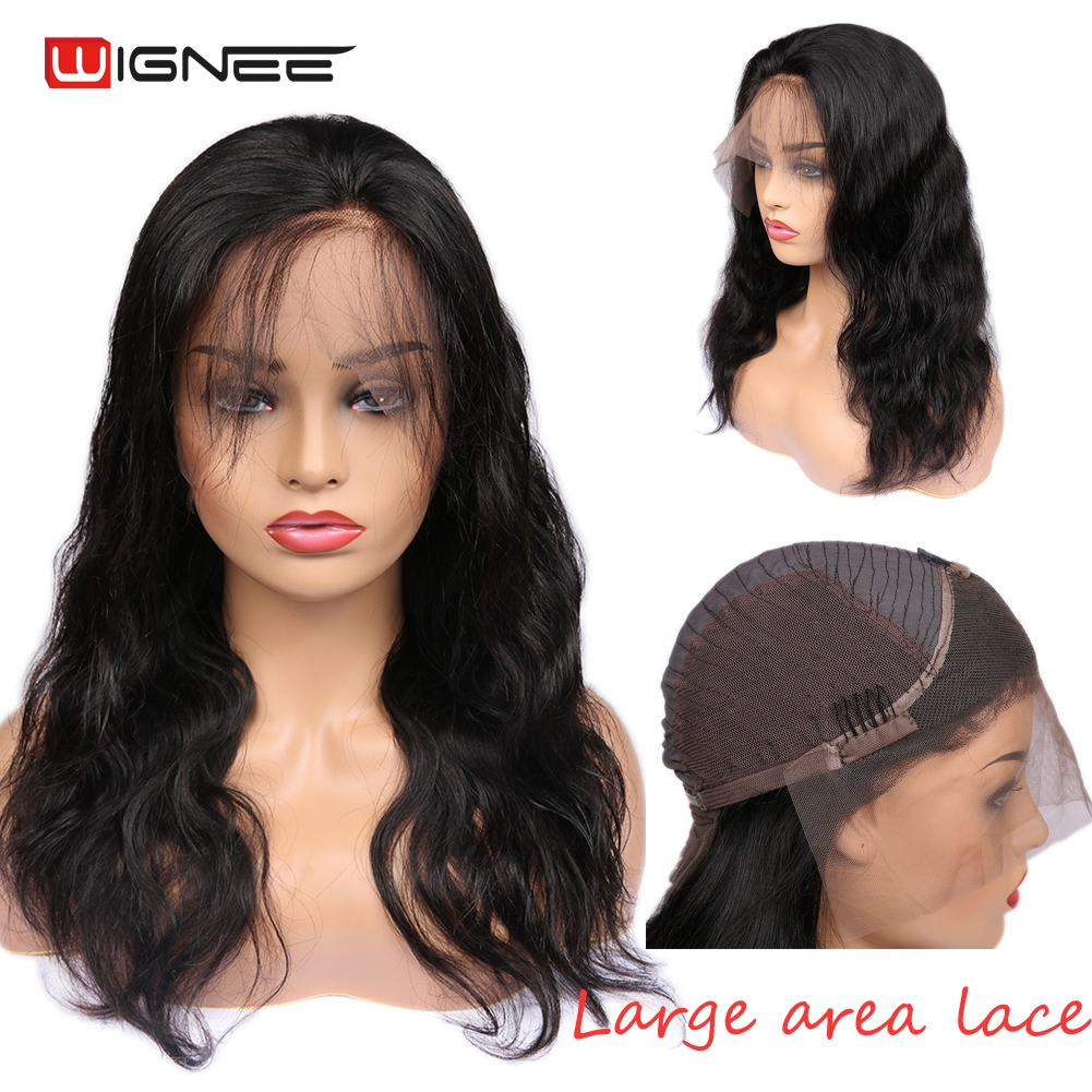 Wignee Wavy Lace Front Human Wig With Baby Hair For Black Women Gluelss Brazilain Virgin Hair Full Lace Body Wave Human Hair Wig