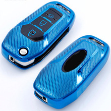 carbon fiber car key case tpu overlay accessories for ford f 150 ecosport ranger explorer TPU Car Key Cover Case Protection For Ford Fusion Fiesta Escort Mondeo Everest Ranger Accessories Cute Key Cover Car Keychain