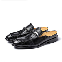 ouluoer Crocodile leather shoes black men wear half slippers web celebrity beans fashion