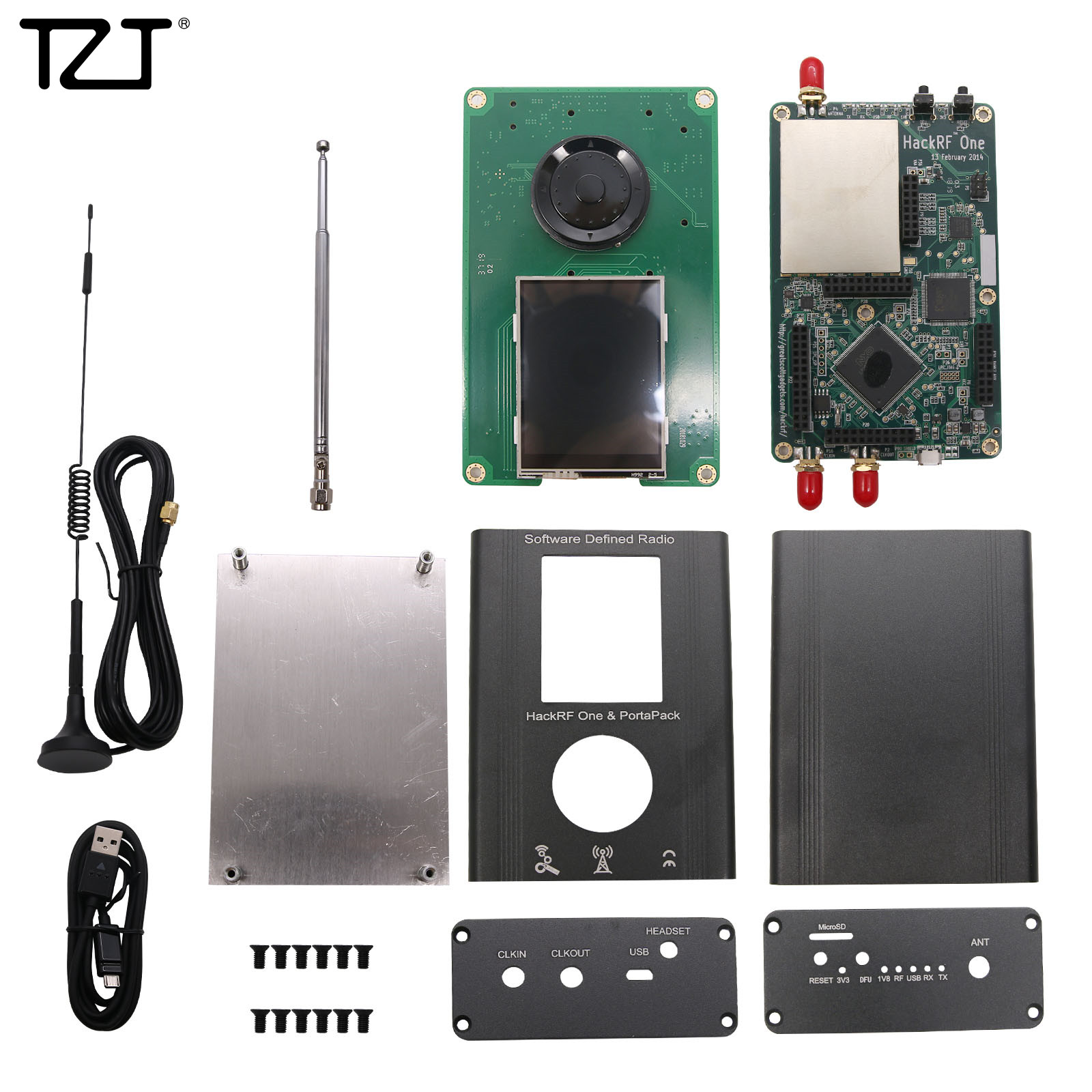 TZT PortaPack + HackRF One SDR + Metal Case + 10M 0.5ppm TXCO + Havoc Firmware Kit