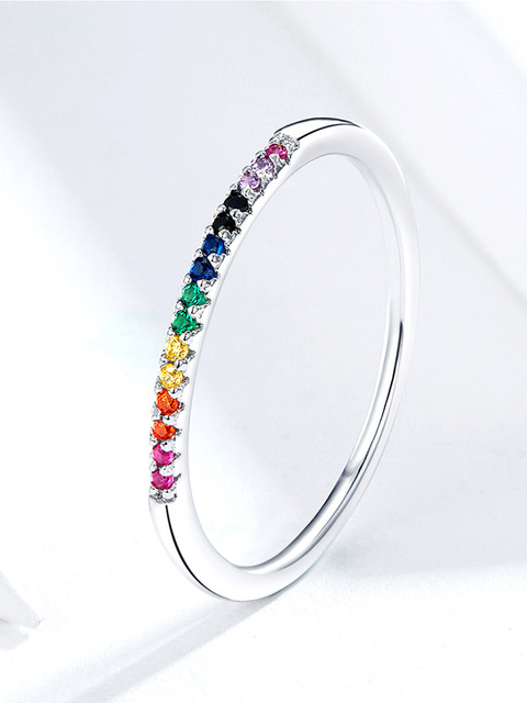 Women Ring Sterling Silver 925 Rainbow Clear Cubic Zirconia Ring