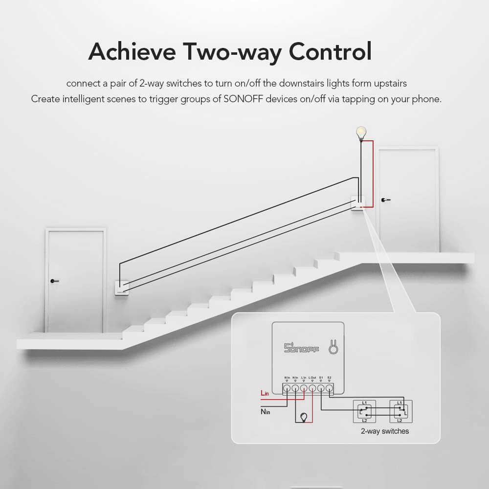 Interruptor inteligente SONOFF Mini de dos vías para aparatos de bricolaje, interruptores de Control remoto de automatización para Alexa Google Home WiFi Smart Switch