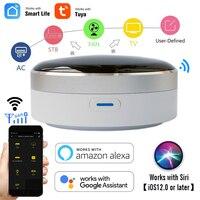 CUSAM 범용 IR 스마트 원격 제어 WiFi + 적외선 홈 컨트롤 허브 Tuya app는 Google Assistant Alexa siri와 함께 작동합니다.