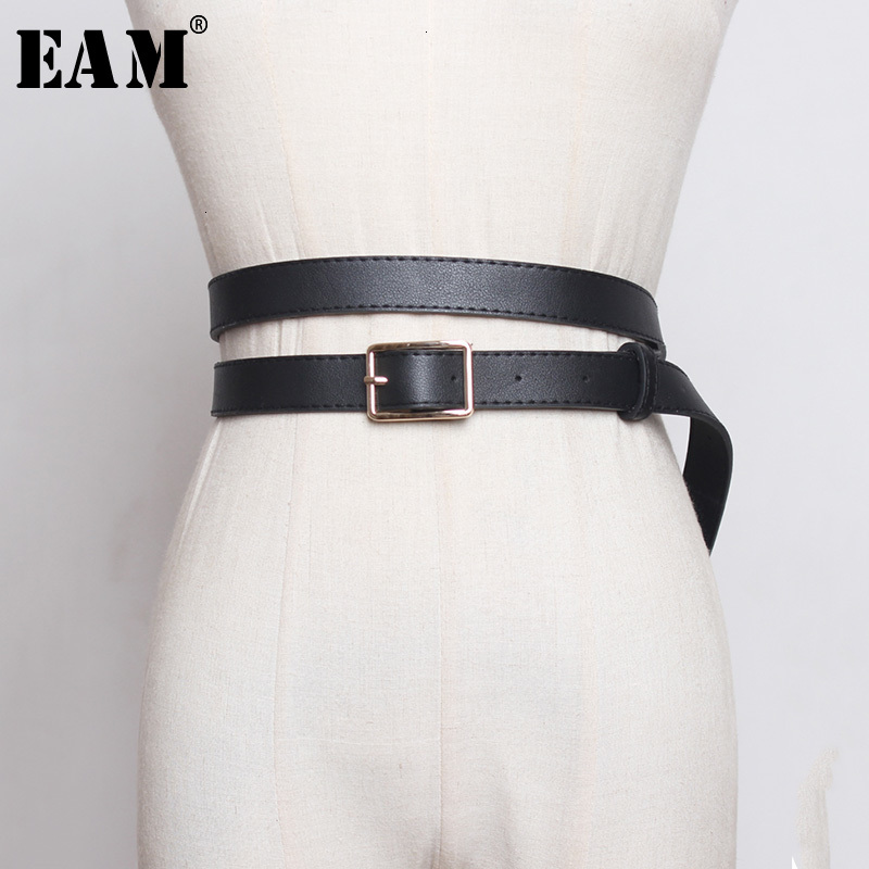 [EAM]  Pu Leather Black Buckle Multicolor Long Wide Belt Personality Women New Fashion Tide All-match Spring Autumn 2020 1H231