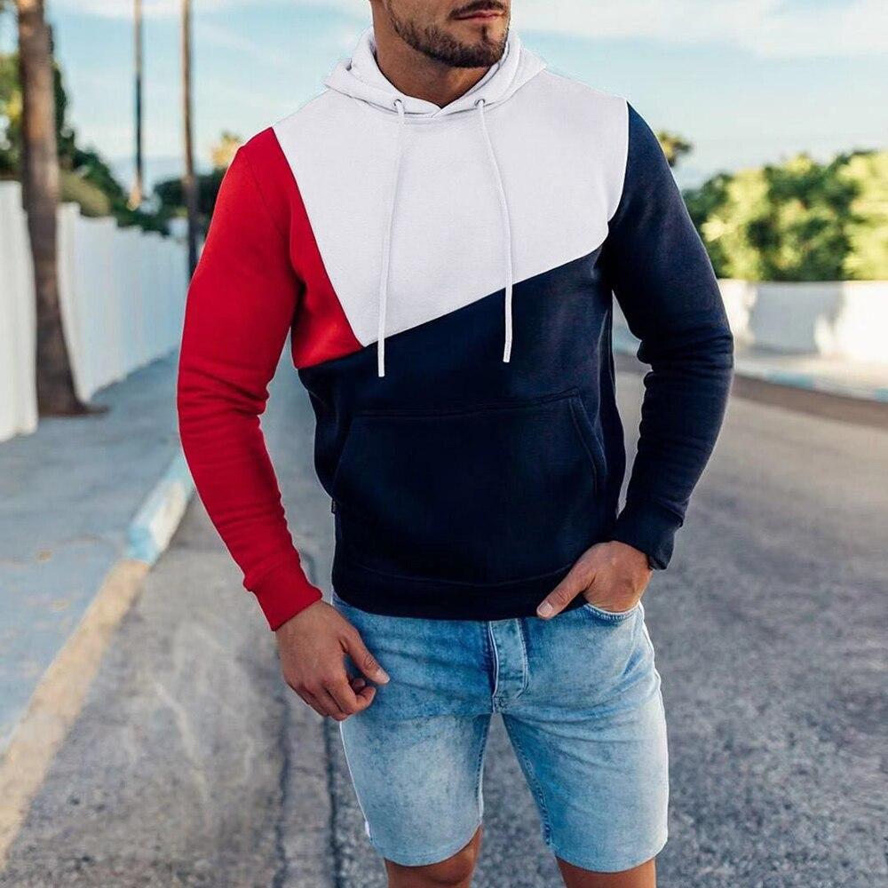 Mens Hoodies Sweatshirt 2019 Streetwear Patchwork Hoody Pullover Black White Hoodie Men Winter Fleece Sweatshirts Clothing D30