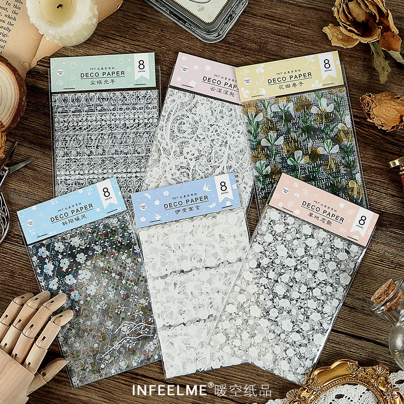 8pcs Sunshine Breeze Series Decorative PET Stickers Scrapbooking Stick Label Diary Stationery Album White Lace Flower Sticker