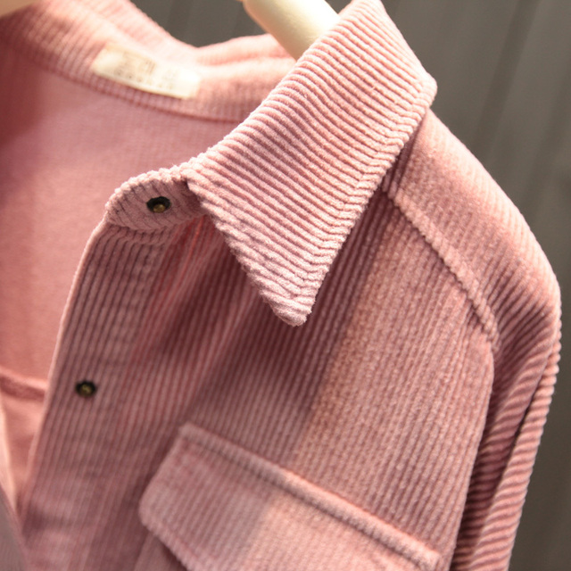 2021 New Spring Autumn Women Elegant Corduroy Pockets Top Blouse Office Ladies Retro Button Solid Long Sleeve Outwear Shirt A131 6