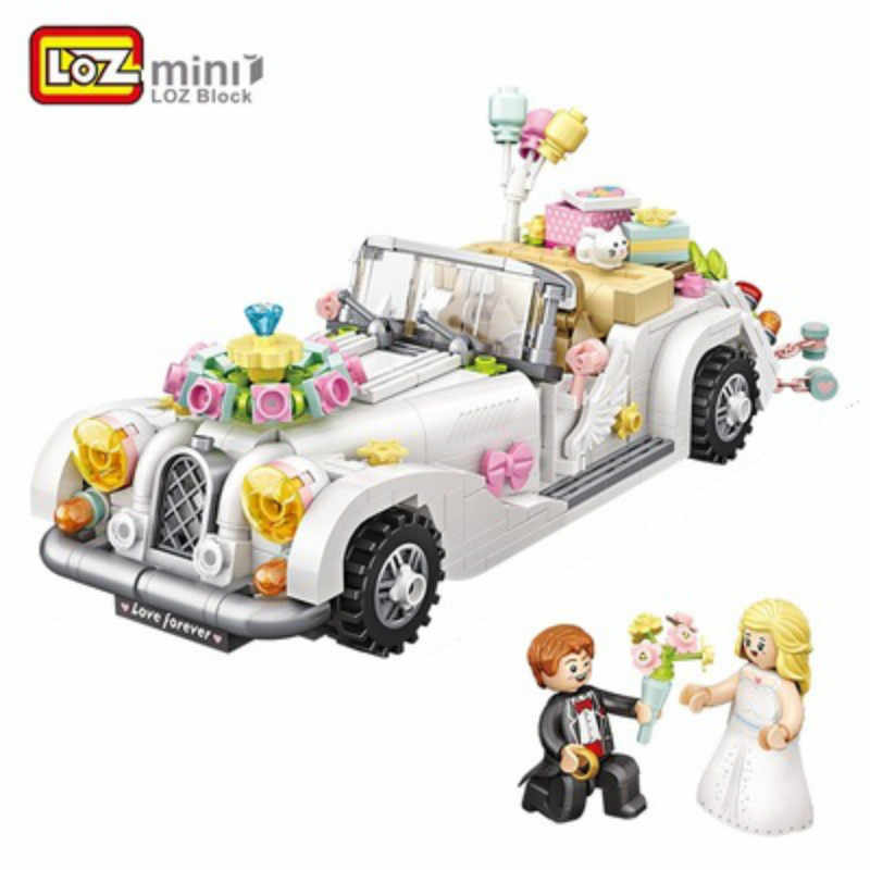 Loz Mini Blokken Technic Auto Model Bricks Bouwstenen Bruiloft Auto Blok Set Micro Cartoon Auto Bakstenen Kerstcadeau 1119