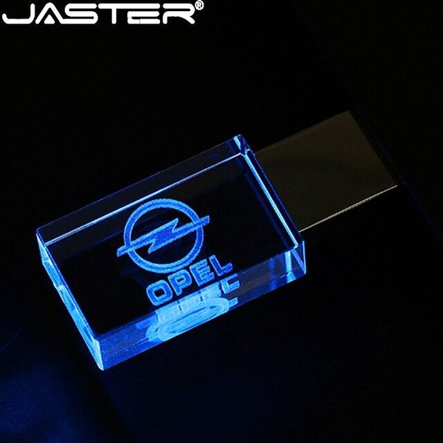 JASTER OPEL de cristal + unidad flash USB de metal pendrive 4GB 8GB 16GB 32GB 64GB 128GB de almacenamiento externo de memoria de disco u