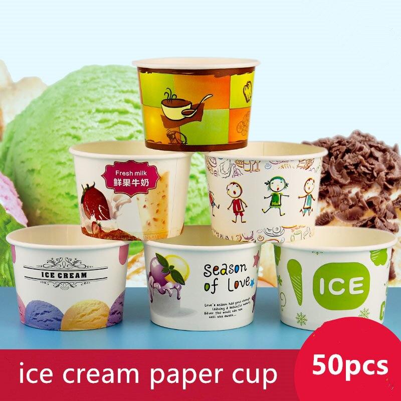 50pcs créatif bande dessinée crème glacée papier tasse 260ml petit jetable frit yaourt bol à emporter emballage tasses avec couvercle transparent