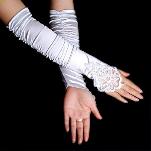 Pair Wedding Dress Evening Prom Gown Satin Long Bridal Fingerless Gloves White