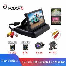 Podofo – moniteur de vue arrière de voiture pliable HD, écran LCD TFT de 4.3 pouces avec caméra de recul à Vision nocturne pour véhicule