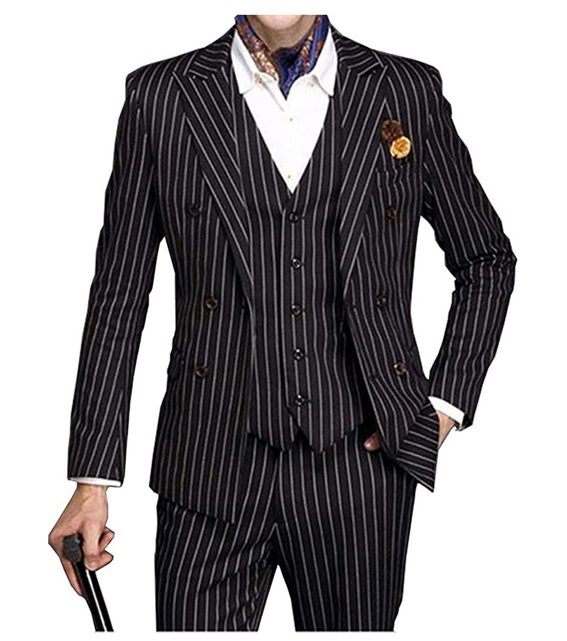 Suits Men 2019 Mens Suit 3 Piece V Neck Pinstripe Wedding Groomman  Notched Lapel Tuxedos (Blazer+Vest+Pants)