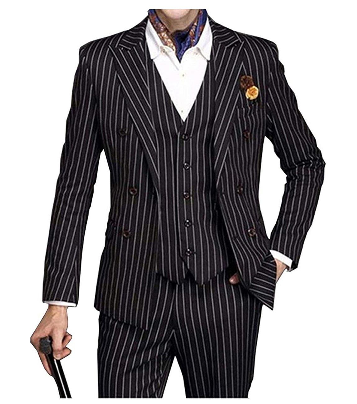 Suits Men 2019 Mens Suit 3 Piece V Neck Pinstripe Wedding Groomman  Notched Lapel Tuxedos (Blazer+Vest+Pants)