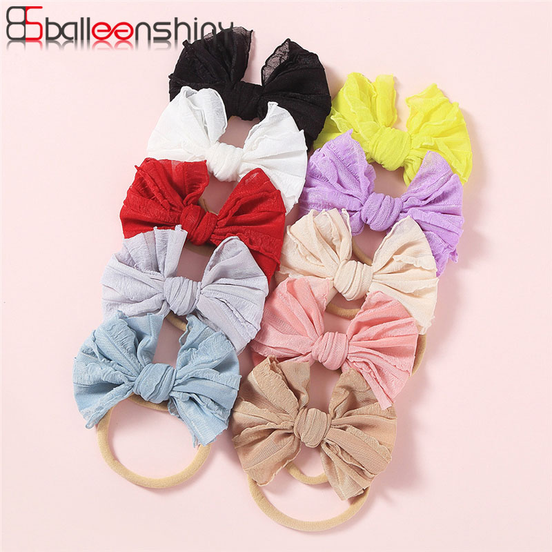 Balleenshiny DIY Lace Bowknot Baby Headband Kids Girls Hair Accessories New Fashion Children's Hair Rope Newborn Photo Props