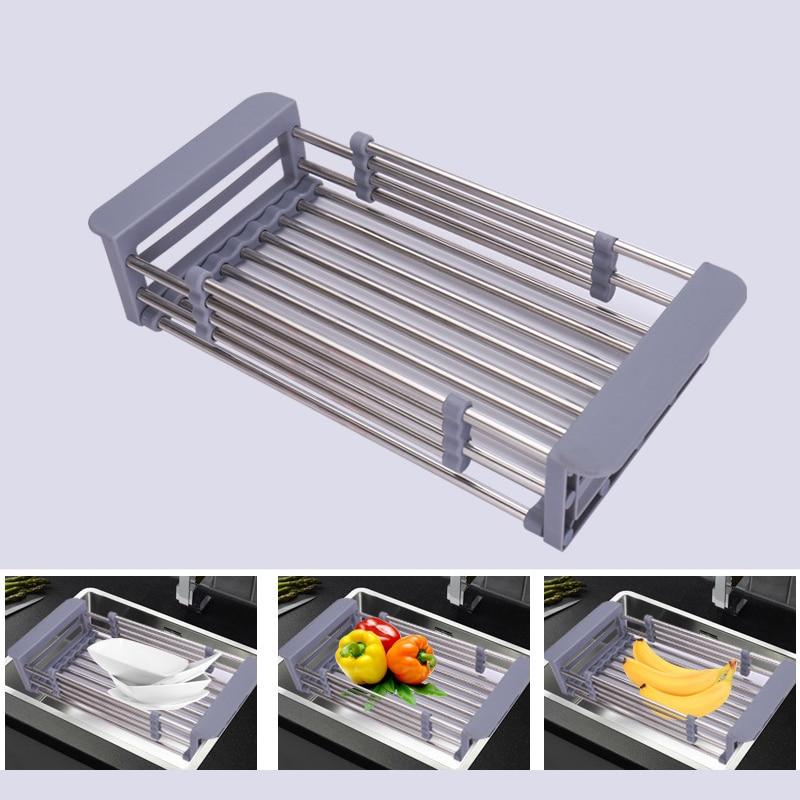 Rack Drain Basket Stainless Steel Telescopic Sink Dish Drainers For Kitchen Drain Shelf Installation Holder Dish Drying Rack