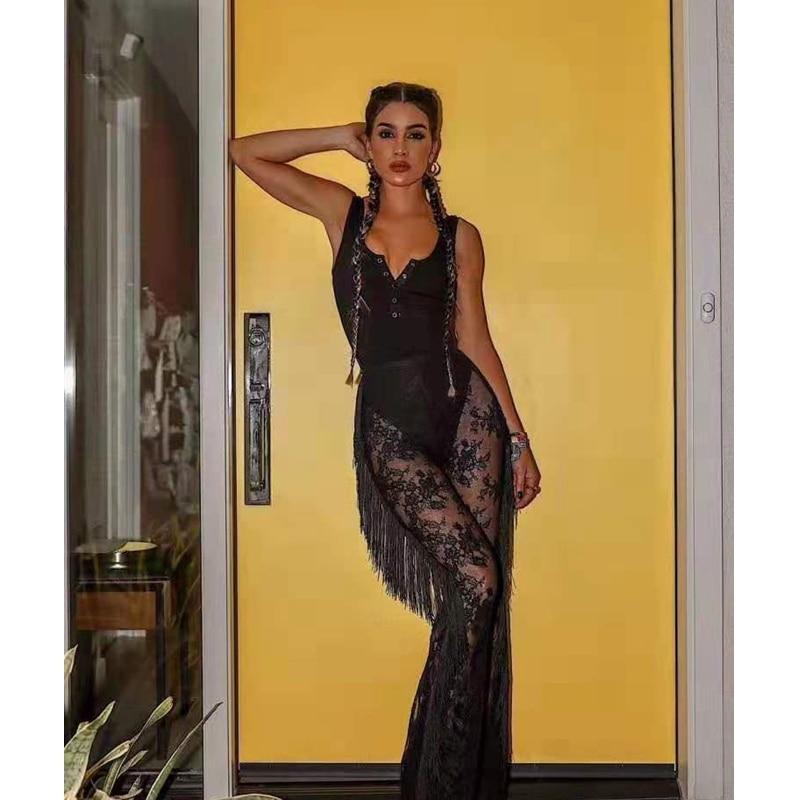 2019 nouveauté mode noir dentelle combinaison Sexy col en V sans manches célébrité soirée fête pure dentelle body livraison directe