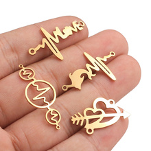 Aiovlo 5pcs/lot Stainless Steel Flash Love Bracelet Bending Connector Pendant Charms DIY Crafts Jewelry Making Findings Supplies