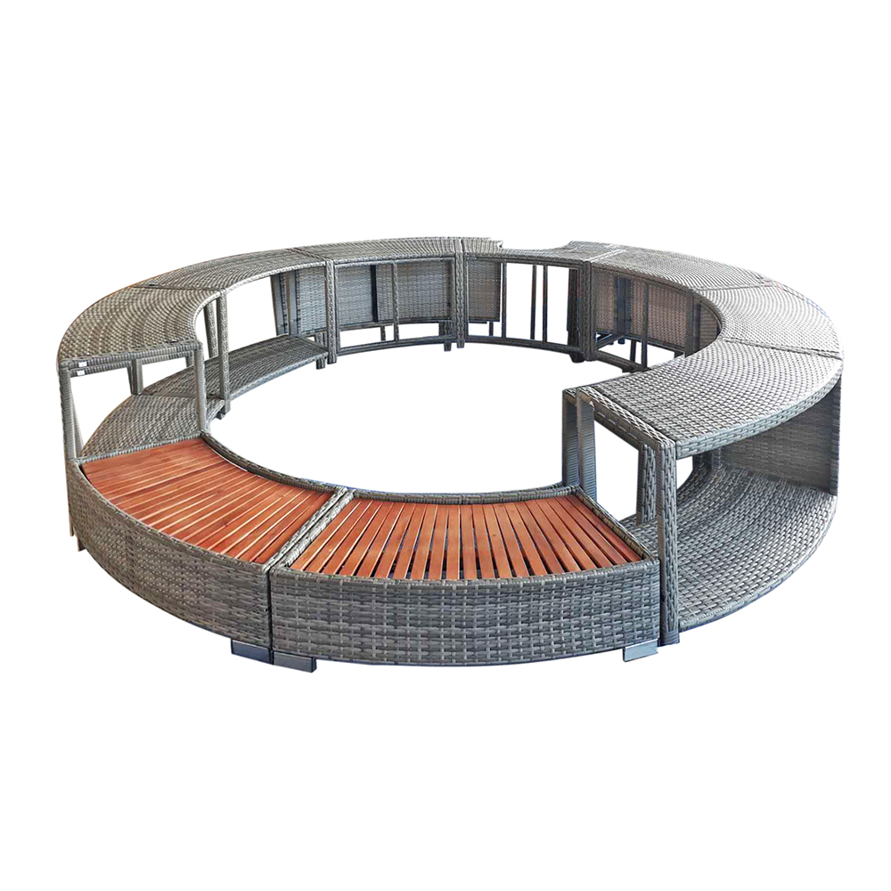 Panana Poly Rattan Spa Surround Hot Tub Chic Modern Tropical Hardwood Outdoor Patio Furniture Fast Delivery