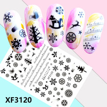 1PC Nail Art Merry Christmas Ultra-Thin Self-Adhesive Nail Snow Decals Back Glue Nail Beauty Stickers For Nails Decorations(China)