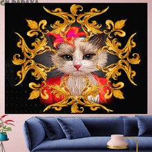 Court style retro Miss cat Deconstruction Tapestry Vintage macrame Yoga Mat  painting flower Wall Hanging home decor GN.PAPAYA