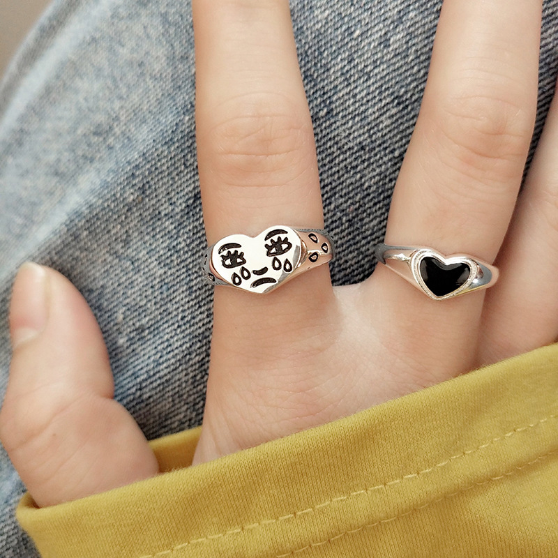 JOUVAL Creative Cry Tears Face Love Heart Rings for Women Fashion Female Resizable Smooth Open Ring Lady Bar Night Club Jewelry
