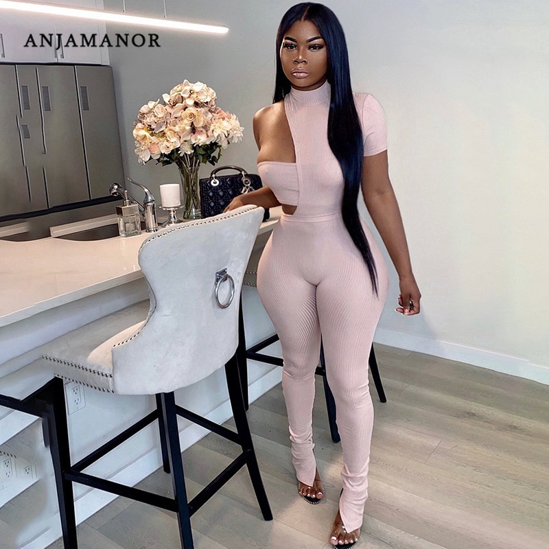 ANJAMANOR Sexy Women Jumpsuits and 2 Piece Pant Sets Club Wear Fashion Asymmetric Hollow Out Bodycon Romper Spring 2021 D85 CE31