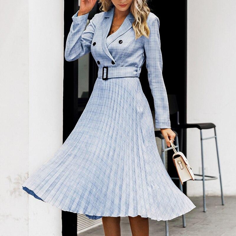 Affogatoo Elegant button belt Plaid women blazer dress Sexy v-neck pleated office ladies dress Long sleeve female party dresses 3