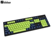 มาตรฐาน 104 คีย์บอร์ด DSA Keycaps เลเซอร์แกะสลักเชอร์รี่ MX สวิตช์ PBT ด้านหน้าการพิมพ์การตั้งค่า Gamer GAMING Tastatur สีน้ำเงินเข้มสีเขียว